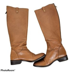 Clarks leather riding knee high boots Camel color
